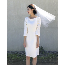 Custom Column Knee Length Satin Bridal Dress with 3/4 Long Sleeves
