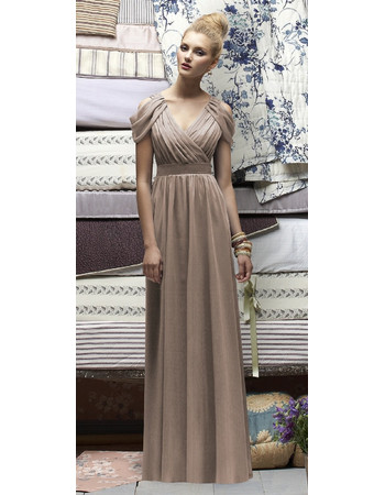Affordable Sheath V-Neck Long Bridesmaid Dress/ Affordable Sexy Chiffon Maid of Honor Dress
