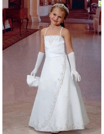 Girls Cheap Classy White Satin Embroidery First Communion Dress