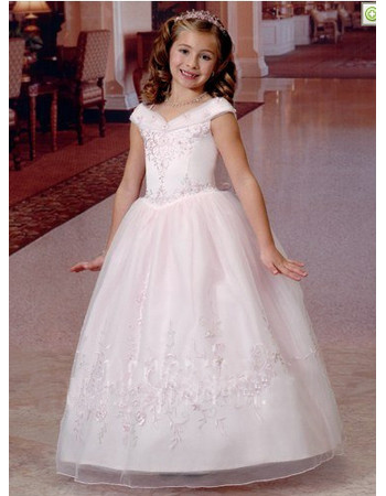Girls Pretty Princess V-Neck Long White First Communion Dress