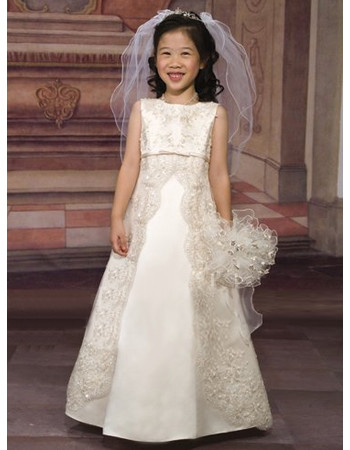 Girls Organza Embroidery Empire First Communion Dress/ Flower Girl Dress