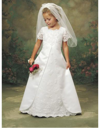 Little Girls Cheap Classy A-Line Lace First Communion Dress/ Cute Full Length Short Sleeves Flower Girl Dress