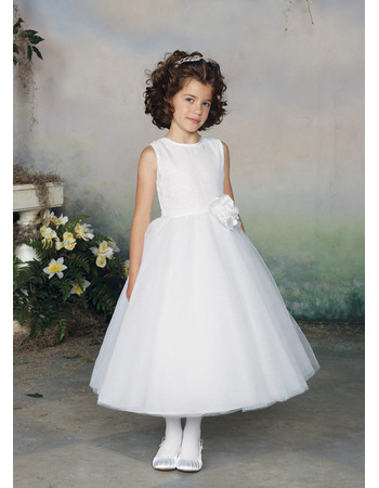 Little Girls Lovely A-Line Tea Length Round Satin First Communion Dress with 3D Flowers