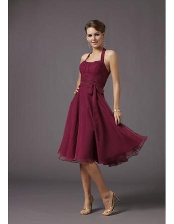 Inexpensive Simple Classic A-line Bridesmaid Dress/ Halter Knee Length Chiffon Satin Wedding Party Dress with sash