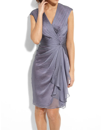 Designer Column V-Neck Short Chiffon Mother of the Bride/ Groom Dress