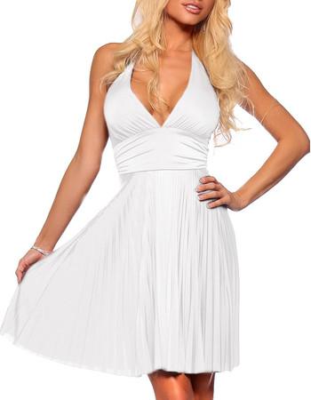 Affordable Chiffon Halter White Graduation Dress/ Pleated Sheath Short Cocktail Dress