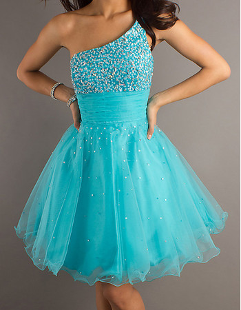 Affordable Blue Short Homecoming Dress/ One Shoulder Prom Dress for Homecoming