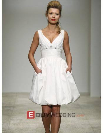 Summer V-Neck Short Beach Wedding Dress with Pockets - US$ 89.95 ...