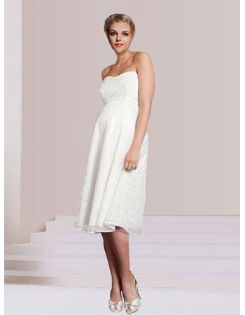 Discount Custom Empire Strapless Knee Length Lace Maternity Wedding Dress Us 136 99 Idreambuy Com
