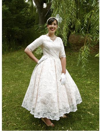 Affordable Vintage A-Line V-Neck Tea Length Lace Garden Wedding Dress with Half Sleeves