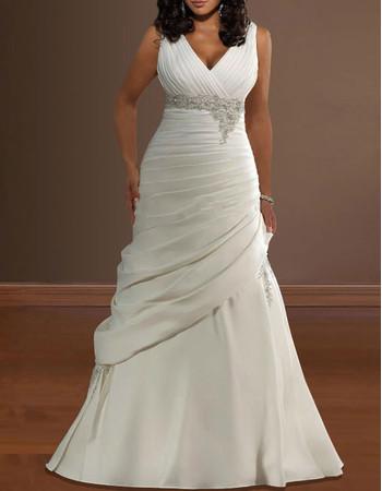 Classic Pleated V-Neck Satin Sweep Train Plus Size Wedding Dress