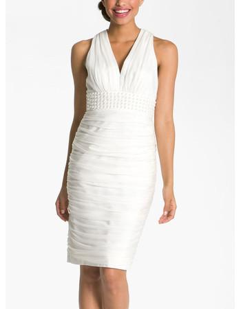 Informal Column V-Neck Organza Short Beach Wedding Dress