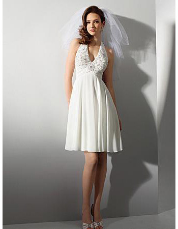 Designer Empire Halter Knee Length Short Chiffon Beach Wedding Dress/ Casual Reception Wedding Gown