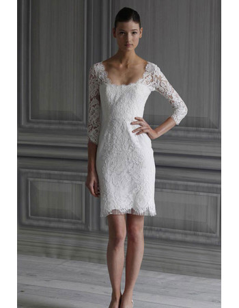 Affordable Classic Column Lace Short Beach Wedding Dress with Long Sleeves