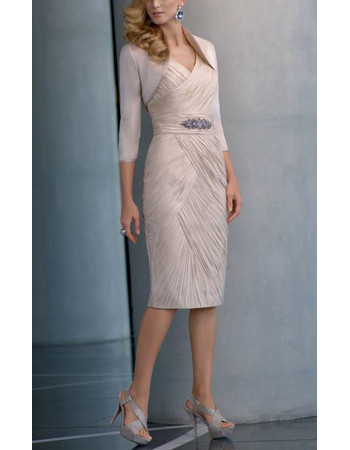 Affordable Column V-Neck Short Ruching Chiffon Mother of the Bride Dress with Jackets