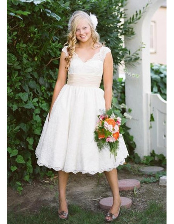 Affordable Vintage Classic Knee Length Lace Short Reception Wedding ...