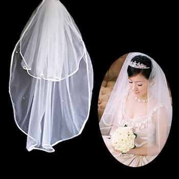 Affordable 2 Layers Tulle Wedding Veil with Ribbon for Bride