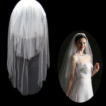 Inexpensive 3 Layers Tulle Wedding Veil with Chain for Bride