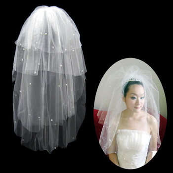 Inexpensive 4 Layers Tulle Wedding Veil with Beading for Bride