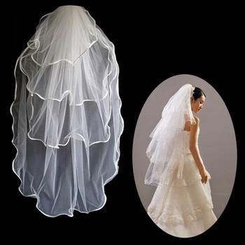 Inexpensive 4 Layers Tulle Wedding Veil with Ribbon for Wedding