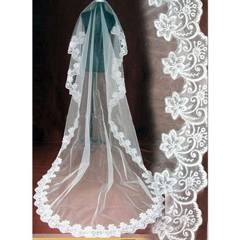 Beautiful 1 Layers Tulle Wedding Veil with Embroidery for Wedding