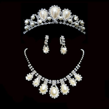 Beautiful Crystal Earring Necklace Tiara Set Wedding Bridal Jewelry Collection