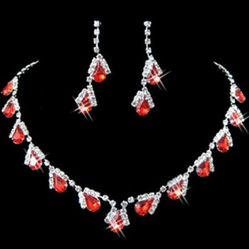 Pretty Red Crystal Earring Necklace Tiara Set Wedding Bridal Jewelry Collection
