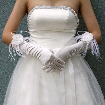 Inexpensive Beautiful Elastic Satin Elbow Wedding Gloves with Flower