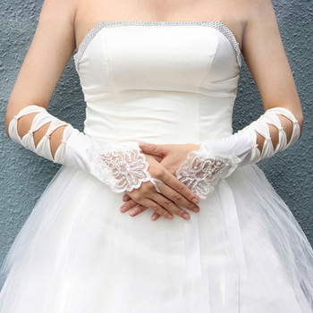 Beautiful Elastic Satin Elbow Hollow-Out Wedding Gloves with Embroidery for Bride