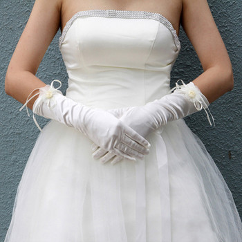 Beautiful Elastic Satin Elbow Wedding Gloves with Flower for Bride