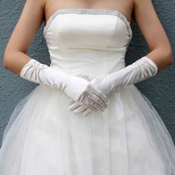 Beautiful Elastic Satin Elbow Wedding Gloves for Bride
