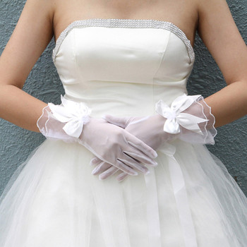 Beautiful Tulle Wrist Wedding Gloves with Bowknot for Bride