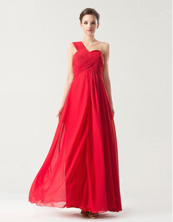 Affordable Empire One Shoulder Long Red Chiffon Bridesmaid Dress for Wedding