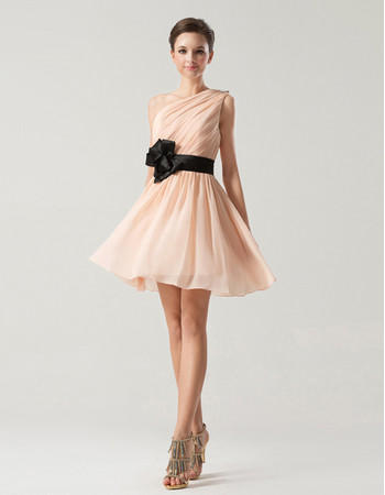 Simple A-Line One Shoulder Short Chiffon Bridesmaid Dress for Summer Wedding