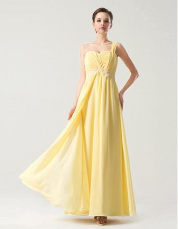 Designer Empire Waist One Shoulder Long Yellow Chiffon Bridesmaid Dress
