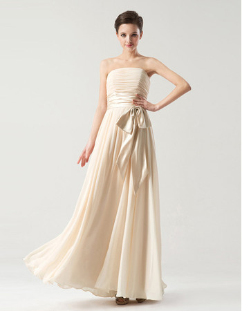 Discount Designer Empire Strapless Long Chiffon Bridesmaid Dress