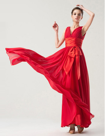 Romantic Empire V-Neck Floor Length Red Chiffon Bridesmaid Dress