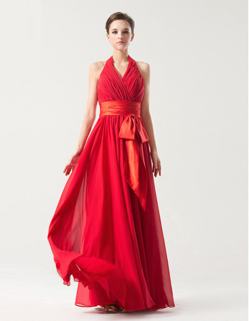 Romantic Empire Halter V-neck Floor Length Pleated Chiffon Bridesmaid Dress with Belt