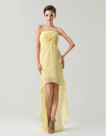 Sexy Sheath/ Column Strapless High Low Chiffon Prom/ Party Dress