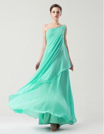 Custom Elegant One Shoulder Floor Length Chiffon Prom Party Dress