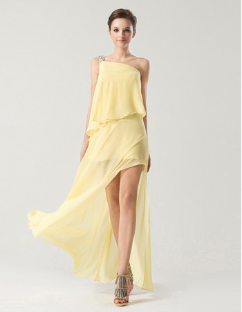 Beautiful One Shoulder Floor Length Chiffon Prom/ Party Dress
