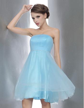 Unique Princess Strapless Short Bridesmaid Dress for Summer Wedding