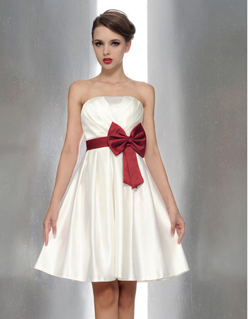 Cheap Princess Strapless Mini Bridesmaid Dress with Sash