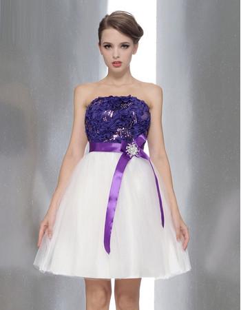 Amazing A-Line Strapless Mini Bridesmaid Dress with Belt
