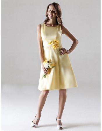 A-Line Bateau Knee Length Yellow Satin Bridesmaid Dress