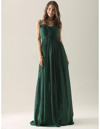 Modern A-Line Spaghetti Straps Floor Length Chiffon Bridesmaid Dress