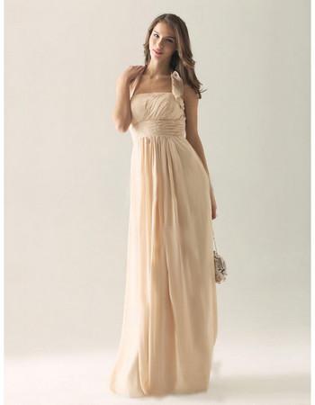 Elegant Column Halter Floor Length Chiffon Bridesmaid Dress