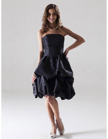 Designer A-Line Strapless Knee Length Taffeta Bridesmaid Dress