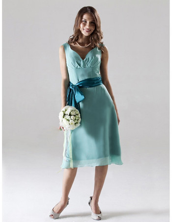 Vintage A-Line Sweetheart Knee Length Chiffon Bridesmaid Dress