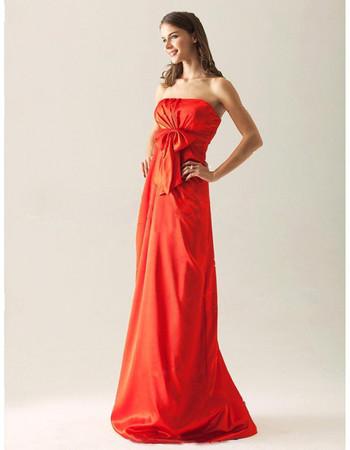 Modest A-Line Strapless Floor Length Taffeta Bridesmaid Dress